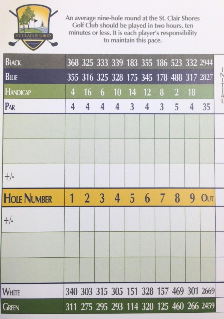 Front 9 scorecard